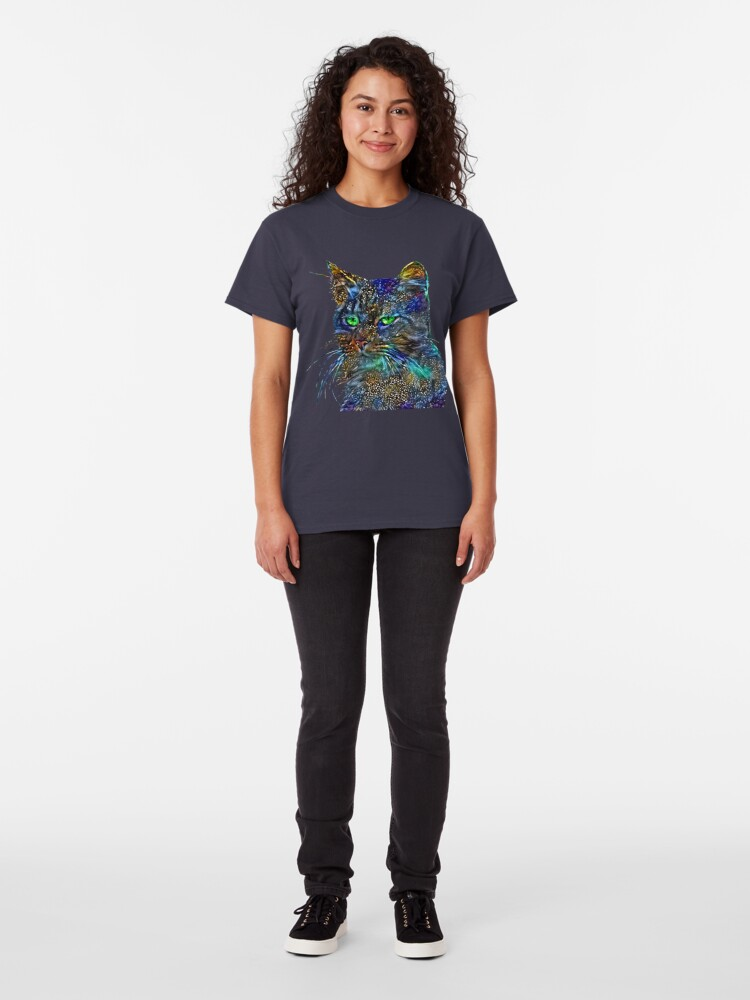 Alternate view of Artificial neural style Starry night wild cat Classic T-Shirt