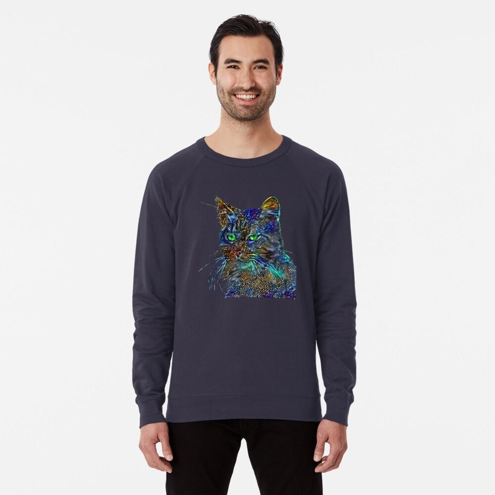 Artificial neural style Starry night wild cat Lightweight Sweatshirt