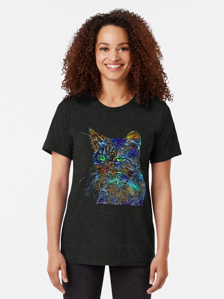 Alternate view of Artificial neural style Starry night wild cat Tri-blend T-Shirt