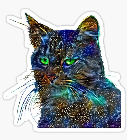 Artificial neural style Starry night wild cat Sticker