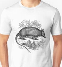 Vintage Armadillo Illustration Retro 1800s Black and White Image Unisex T-Shirt