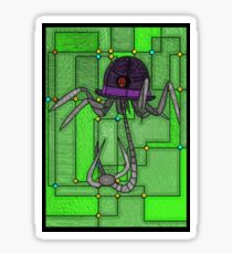 Robotic Bowler Hat - stained glass villains Sticker