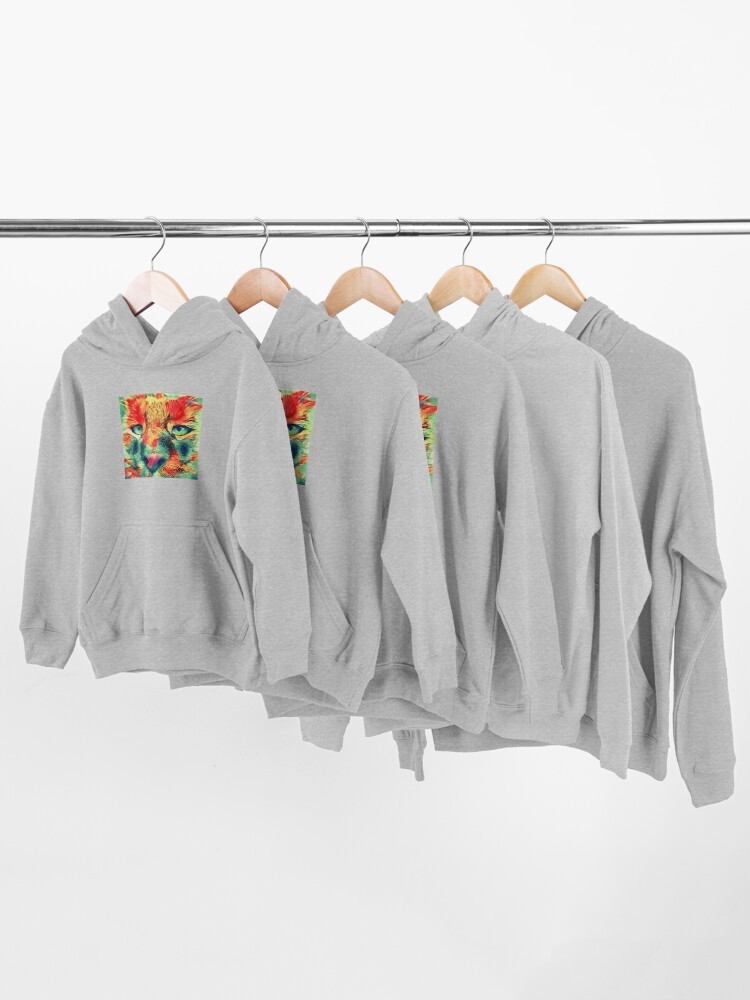Alternate view of Artificial neural style wild cat Kids Pullover Hoodie