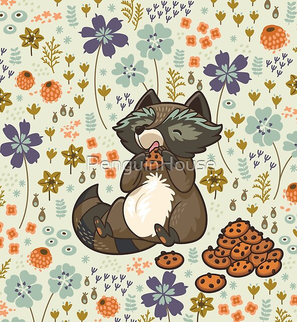 Funny little raccoon eating cookies by PenguinHouse