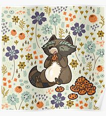 Funny little raccoon eating cookies Poster