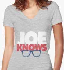 Joe Knows Baseball Women's Fitted V-Neck T-Shirt