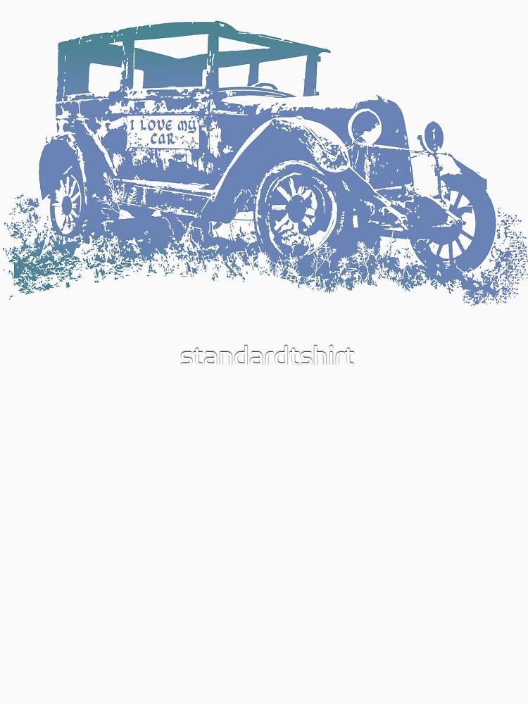 Vintage Old Car and I love My Car Graphics Car Illustration by standardtshirt