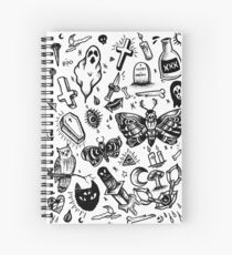 SPOOKY TATTOO FLASH SHEET Spiral Notebook