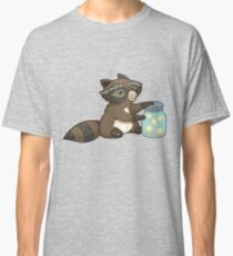 Funny little raccoon collects crickets Classic T-Shirt