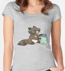 Funny little raccoon collects crickets Women's Fitted Scoop T-Shirt