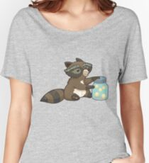 Funny little raccoon collects crickets Women's Relaxed Fit T-Shirt