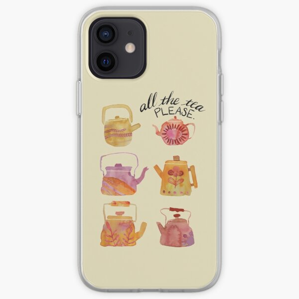 Watercolor Teapots - pink & yellow iPhone Soft Case