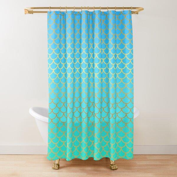 Blue Mermaid Scales Shower Curtain