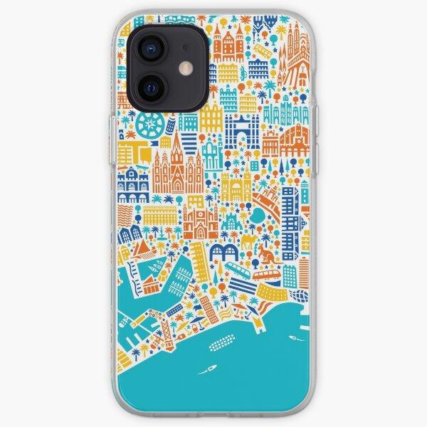 Barcelona City Cartel del mapa Funda blanda para iPhone
