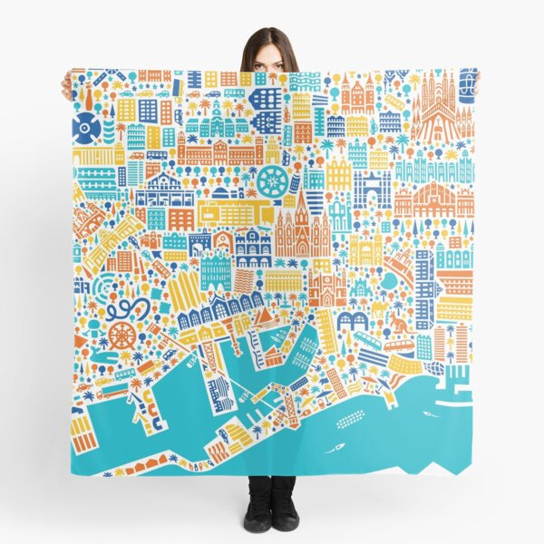 Barcelona City Map Poster Scarf