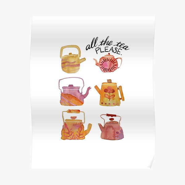Watercolor Teapots - pink & yellow Poster