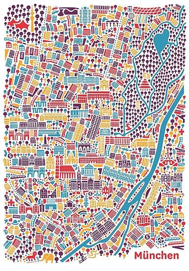 Munich City Map Poster by Vianina