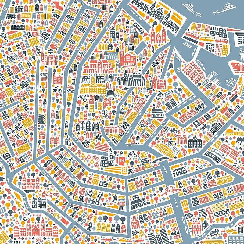 Amsterdam City Map Scarves by Vianina Redbubble