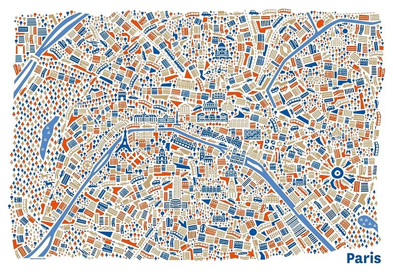 Paris City Map | Art Print