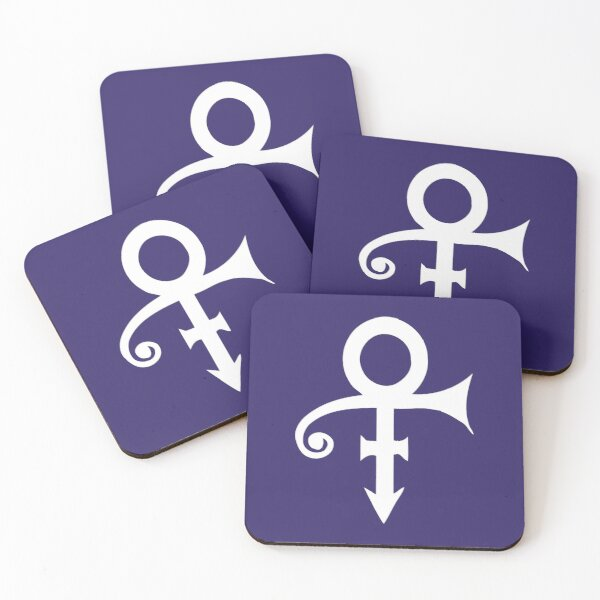 Prince, white Symbol Sign, Prince Love , purple rain, I would die for U Coasters (Set of 4)