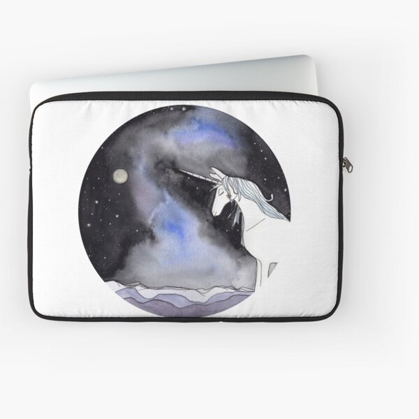 The Last Unicorn with a Galaxy and Nebulae Background Laptop Sleeve