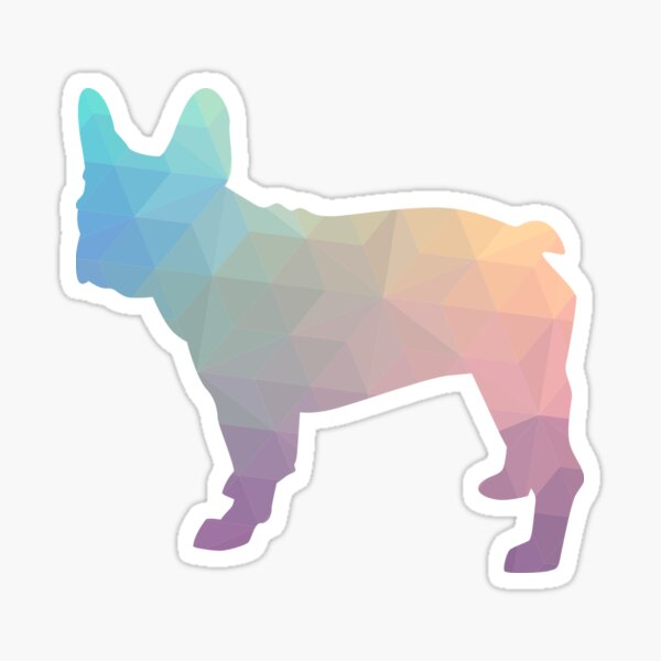 French Bulldog Colorful Geometric Pattern Silhouette - Pastel Sticker