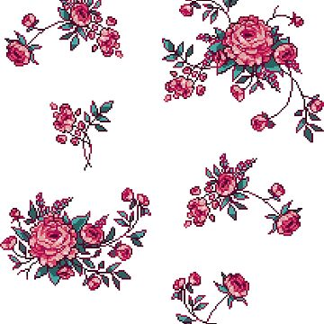 Pixel Floral - Arrangement in Pink by theCatghost