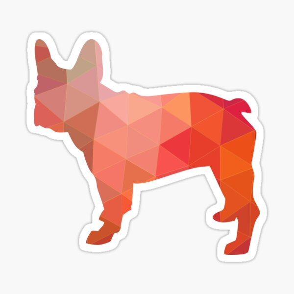 French Bulldog Dog Breed Colorful Geometric Pattern Silhouette - Orange Sticker