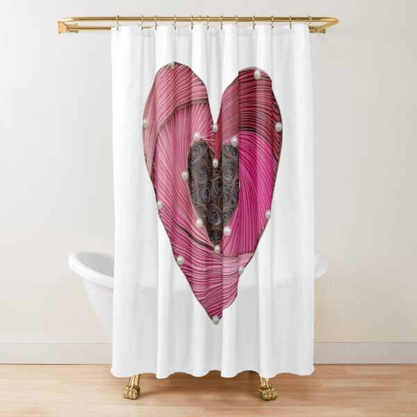 Paper Quilling Heart Shower Curtain