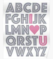 ABC Baby Nursery Room Decor - PINK & GREY GRAY Poster