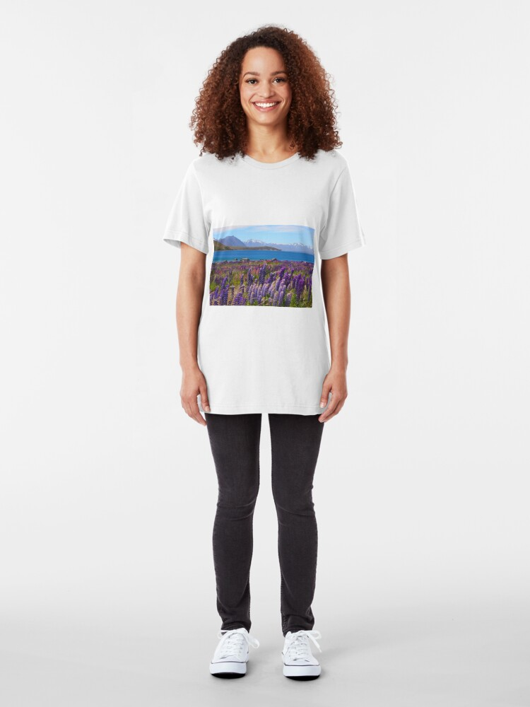 Alternate view of Lake Tekapo and wild flowering lupins Slim Fit T-Shirt