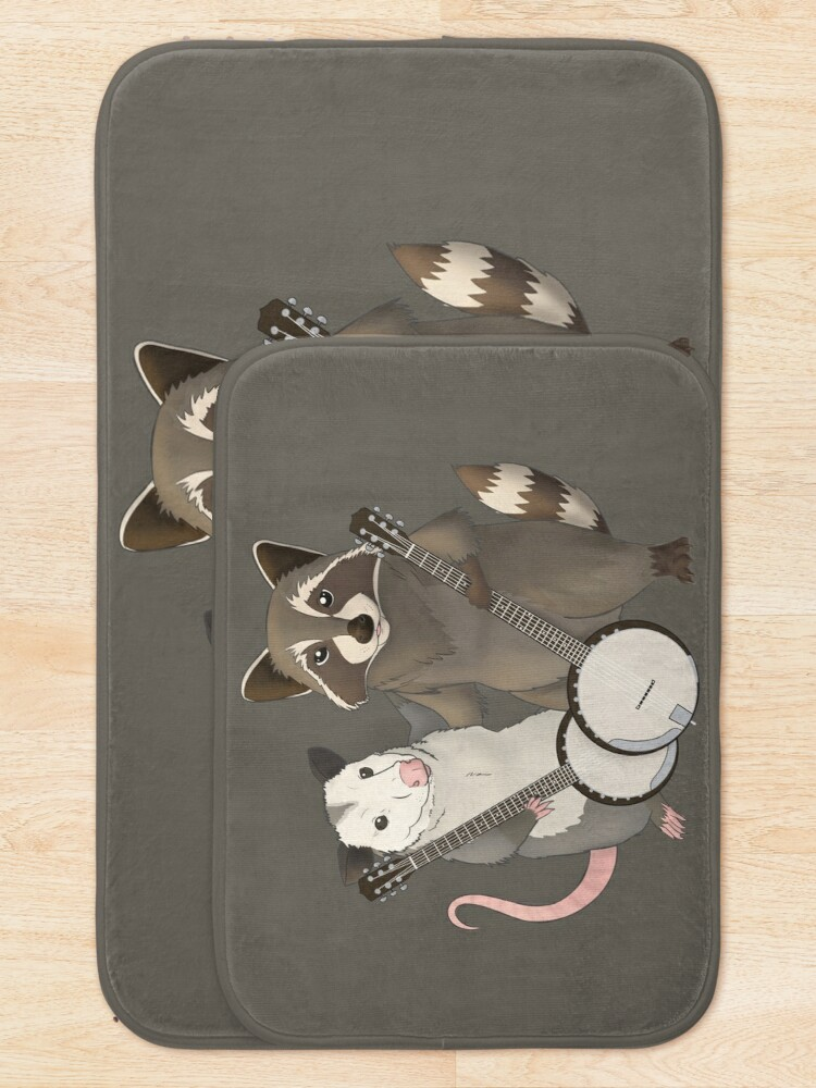Alternate view of Opossum and Raccoon with banjos Bath Mat