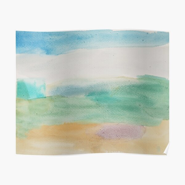 Beach Abstract In Soft Blues Poster