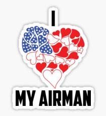 I love My Airman - Flag Heart Sticker
