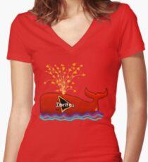 Dorito Whale Women's Fitted V-Neck T-Shirt