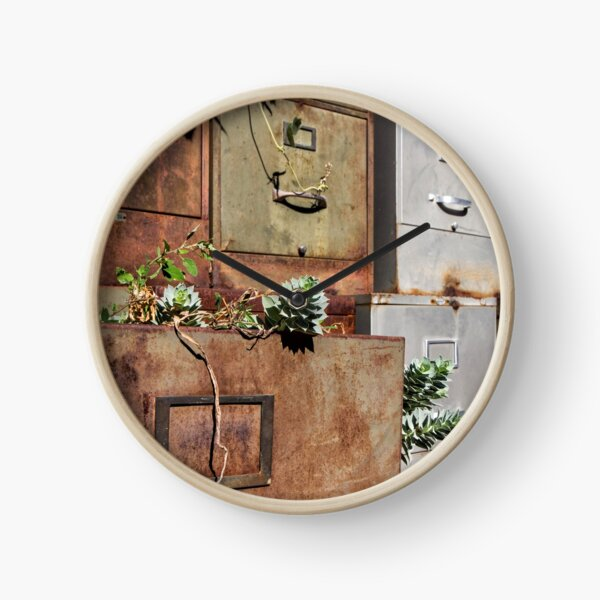 Rusty File Cabinets With Succulents Clock