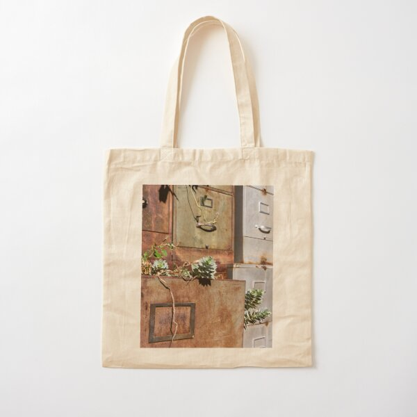 Rusty File Cabinets With Succulents Cotton Tote Bag
