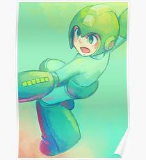 Teal Mega Man Poster