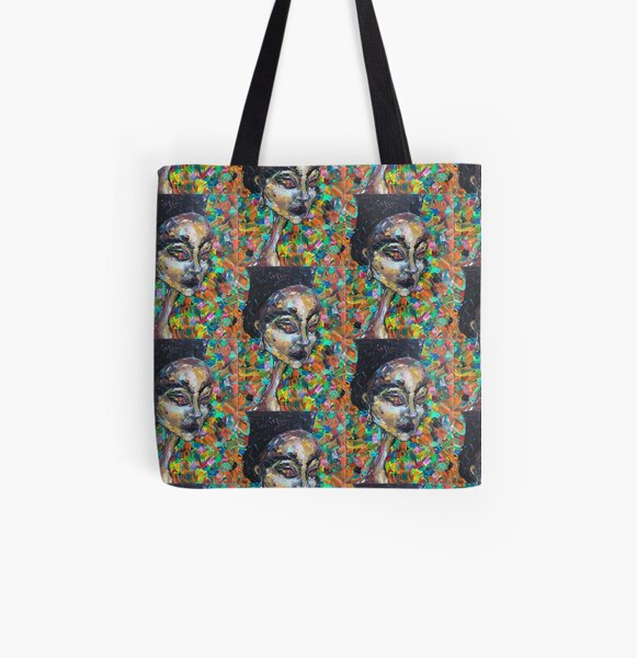 Abstract Colorful Portrait of Woman All Over Print Tote Bag