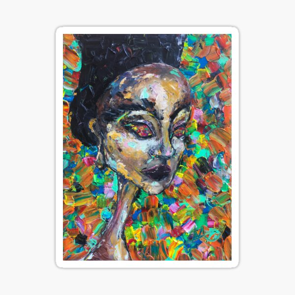 Abstract Colorful Portrait of Woman Sticker