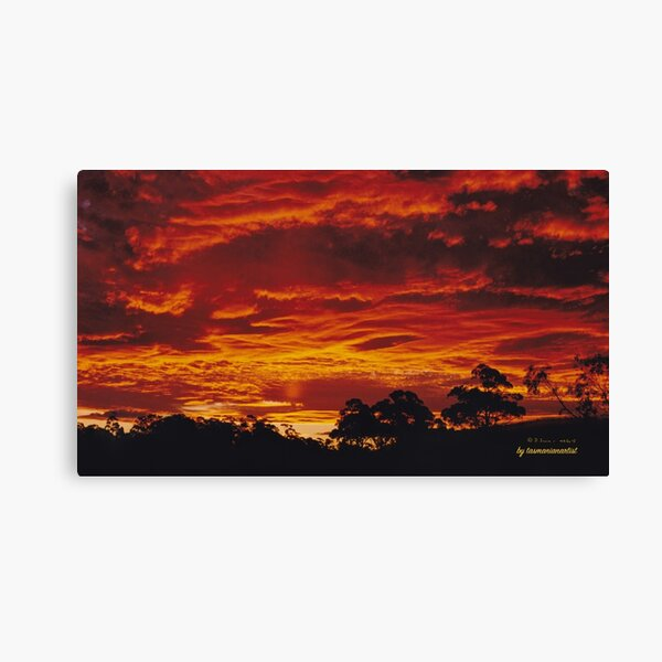 JUST PHOTOS ~ GALLIMAUFRY ~ SCENES ~ SCENERY ~ D1G1TAL-M00DZ ~ Blazing Sunset over Copping by tasmanianartist Canvas Print