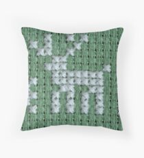 embroidery cross-stitch pattern with deer Throw Pillow