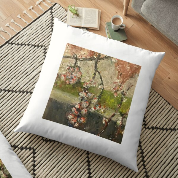 Painted Floral Floor Pillow