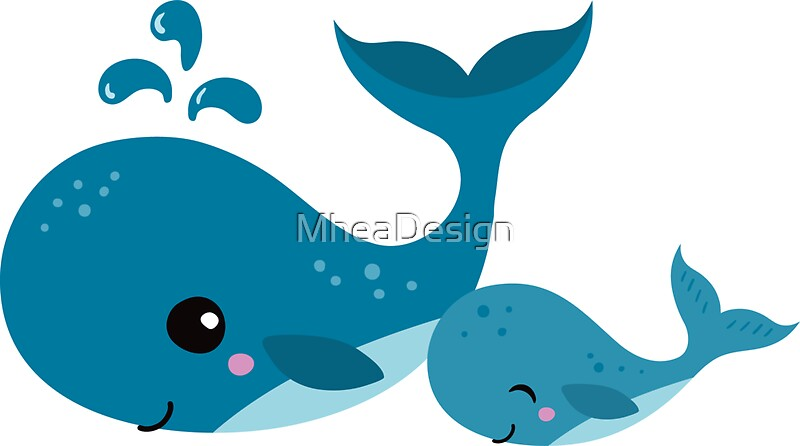 Cute mommy and baby whale sticker by mheadesign