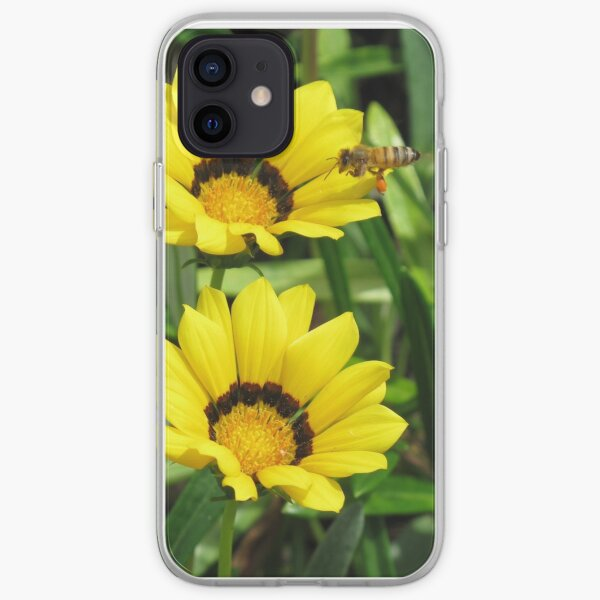 A bee in a Sunflower iPhone Soft Case