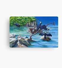 GALLIMAUFRY ~ Little Pied Cormorants on Wreck by tasmanianartist Canvas Print