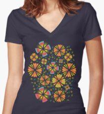 Flower Field Women's Fitted V-Neck T-Shirt