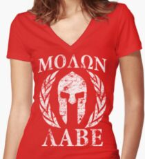 molon labe 1 Women's Fitted V-Neck T-Shirt