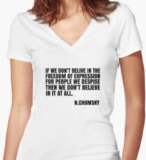 Noam Chomsky Quote Free Speech Freedom  Women's Fitted V-Neck T-Shirt