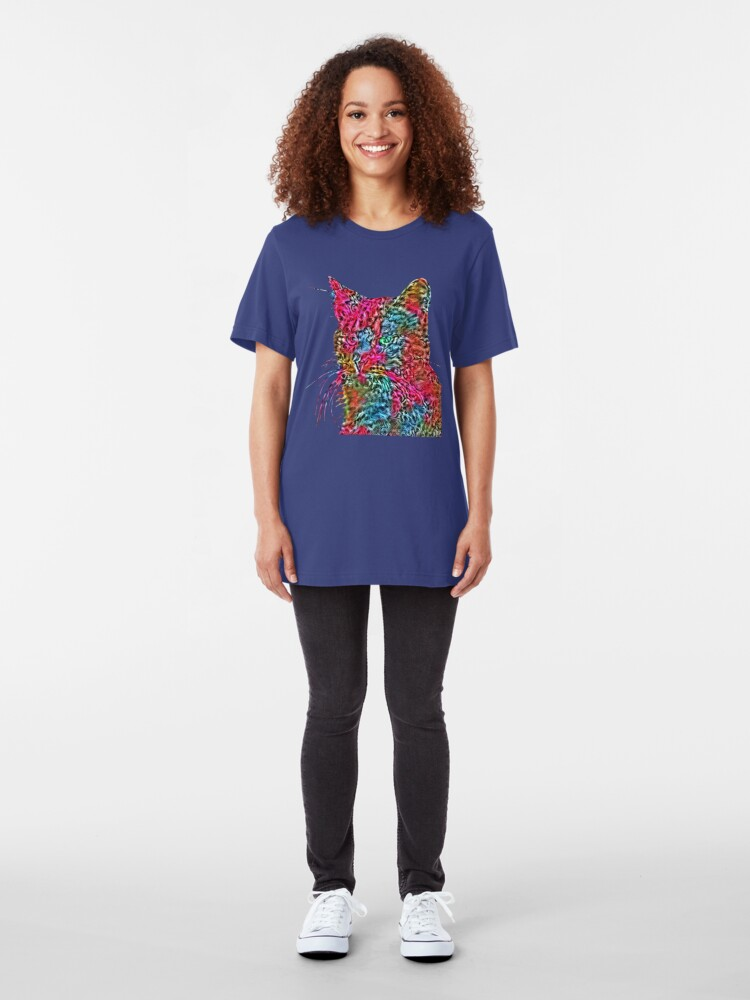 Alternate view of Artificial neural style Rose wild cat Slim Fit T-Shirt